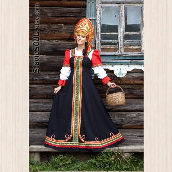 Long Traditional Russian Ethnic Dress Sarafan With Blouse
