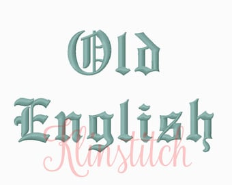 Old English Embroidery Fonts 2 Sizes BX Designs PES Alphabets