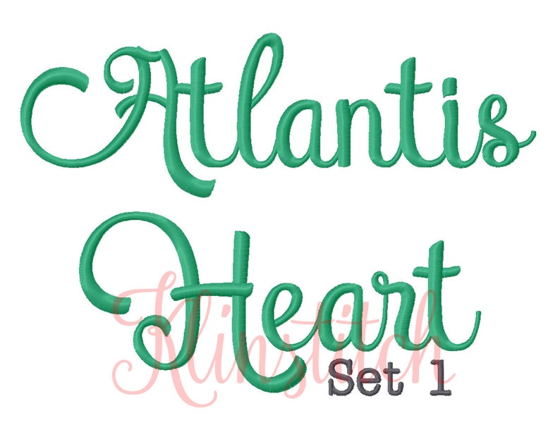 50% Sale!! Set 1 Atlantis Heart Embroidery Fonts 5 Sizes Fonts BX Fonts  Embroidery Designs PES Fonts Alphabets - Instant Download