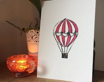 Individually hand finished lino cut print - Red hot air balloon
