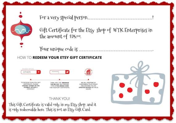 Gift Certificate For The Etsy Shop Of Wtk Enterprises
