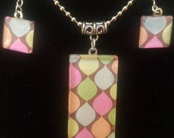 Necklace Pendant and Earring Set Moroccan Pattern