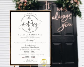 Printable Large Wedding Program Sign PC And Mac Card Template Kraft Instant DOWNLOAD EDITABLE Text 16x20 Modern Calligraphy C368