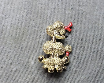 Vtg 50s Christmas Gerry\u2019s Enamel Spaghetti Grey Poodle Dog Red Bow Pin Brooch