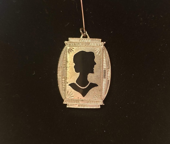 Vintage Art Deco Stamped Sterling Double Silhouette Pendant