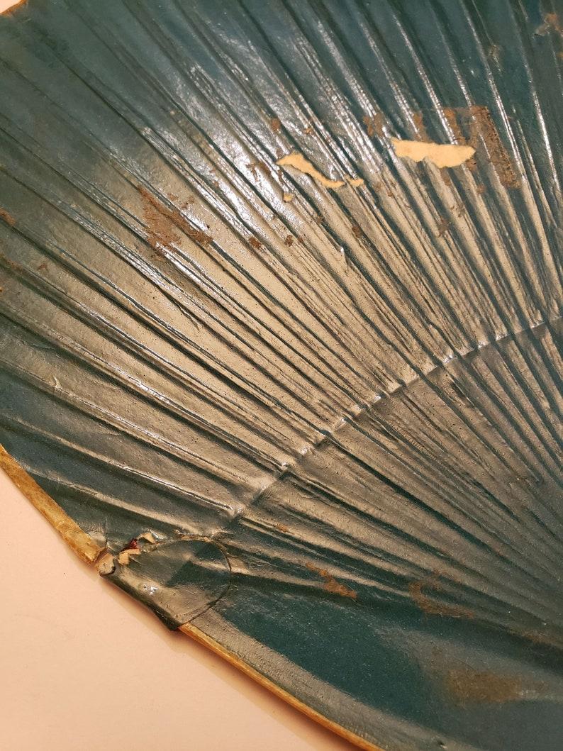 Japanese Hand Fan Vintage 1960s Art Deco Style Uchiwa Fan