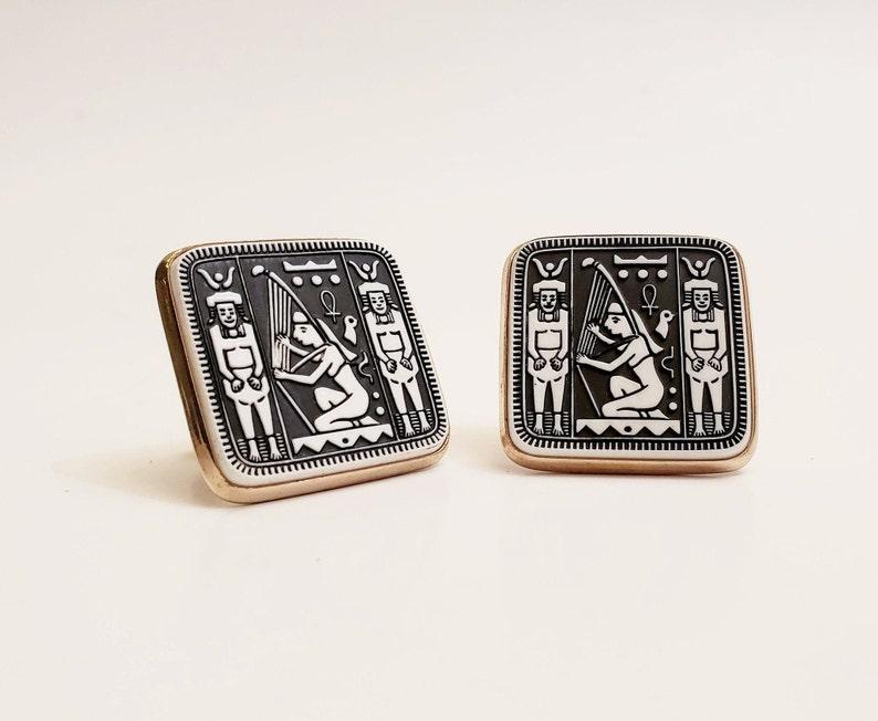 Vintage Egyptian Revival Hieroglyph Cuff links
