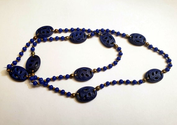Vintage Molded Glass Bead Asian Inspired Nacklace