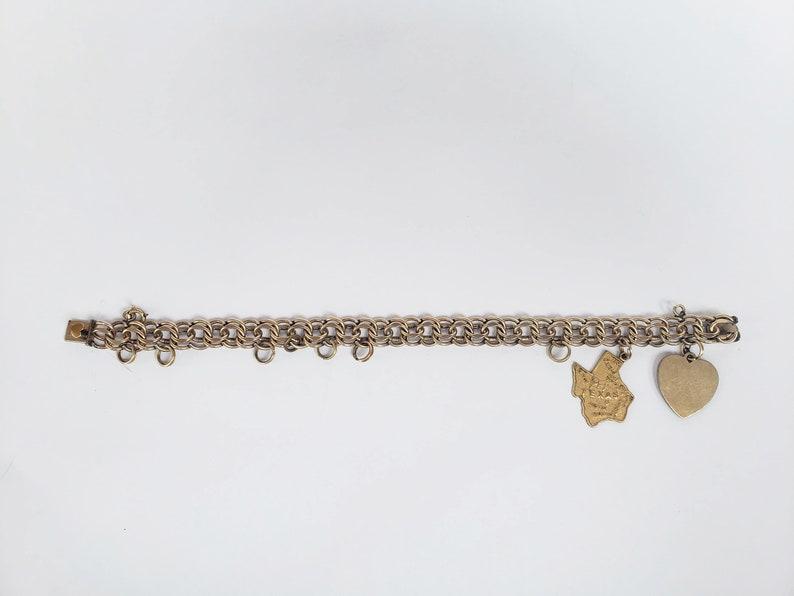 fe54ef2a165d2 Vintage 12k Gold Filled Elco Double Link Charm Bracelet with 2 Gold Filled  Charms
