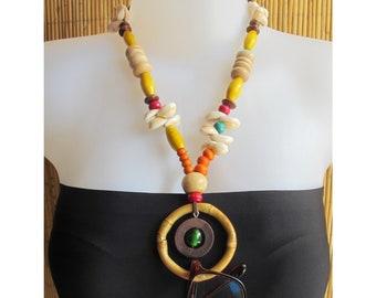 Vintage Estate Cowrie Yellow Shell Necklace Lei Tiki Island Souvenir Boho Coastal Kitsch