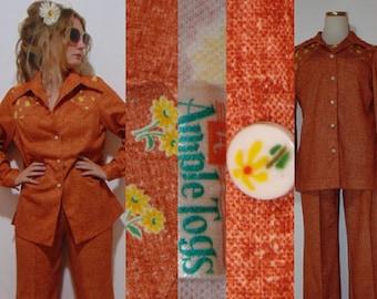 55420299a95 vintage 1960s 70s double knit Polyester pantsuit rust leisure suit orange  plus size large two-piece polyester leisure suit hipster mod boho