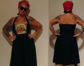 Rockabilly homemade plus size hipster retro Guadalupe tattoo black Gold halter dress