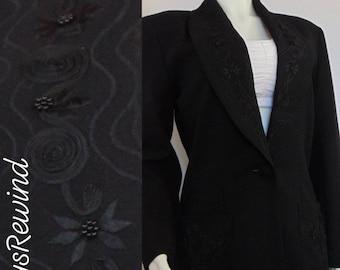 Vintage Regina Porter Women Size Small Black Jacket Zipper Button Down