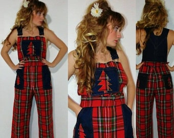 93eed5c895f overalls red 1970s pants flannel tartan pants Bell plus size dungarees plaid  red tree hipster mod boho
