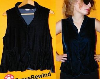 Vintage 1970s 80s velvet vest velvet black top velour jacket Ruffles  hipster large mod hippie 2d5081cab
