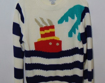 e3aa0843 vintage nautical sweater ocean boat hipster mod top shirt crop pullover  large