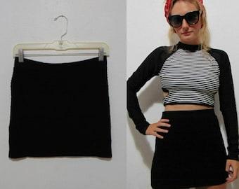 79bd0f75e9464 VINTAGE black 1980s 90s black skirt knit Mini Punk New Wave stretch pull on  skirt hipster mod boho