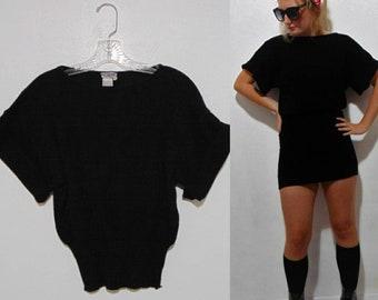 144943ca vintage 1970s 80s black sweater wool black elfionr knit short shirt black  short sleeve knit top mod goth Punk hipster