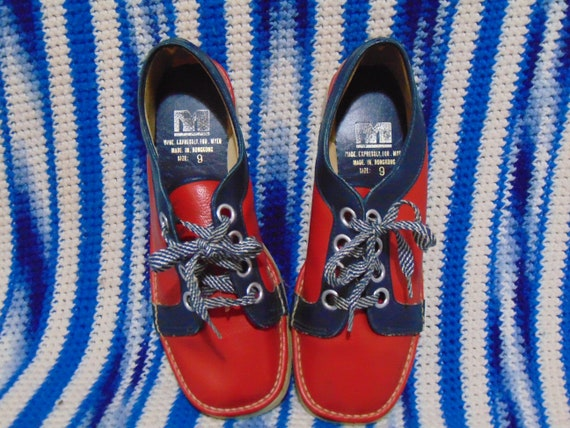 vintage 1970s shoes red and blue oxfords tie shoes