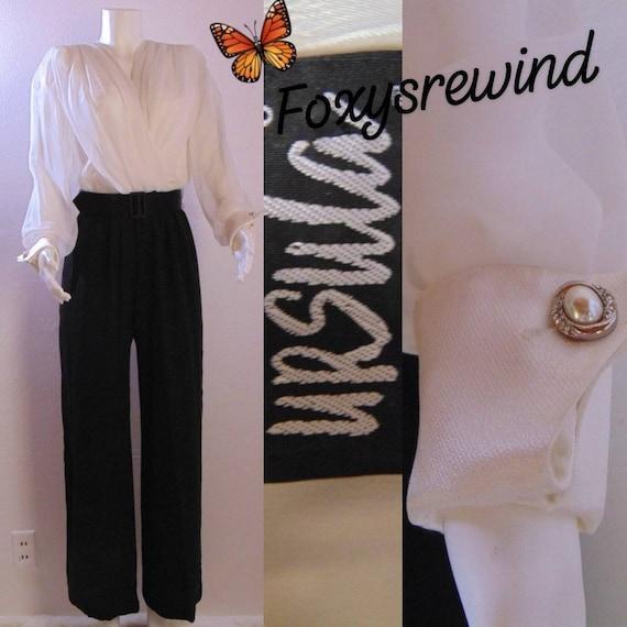 Vintage pants suit black and black jumpsuit sheer