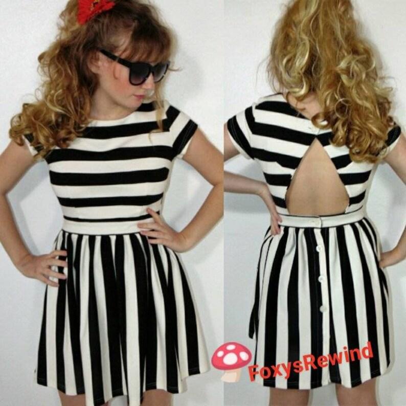 584dc5d02091 Black and white stripe skater dress open back button skirt | Etsy