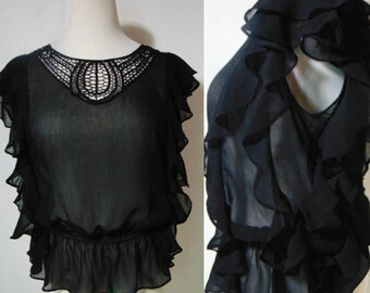 Vintage 70s 80s 90s black blouse top shirt ruffle cropped see through crocheted elastic waist