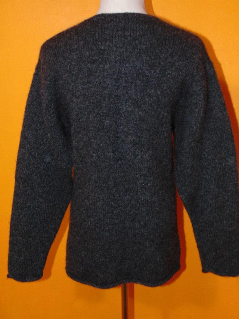 Vintage 100/% wool grey cardigan Points West sweater hipster mod boho plus size