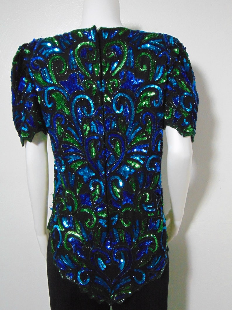 Vintage Bedazzled beaded Green Top blue blouse sequin turquoise black new trends heart shoulder pads