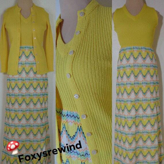 Vintage 1960s 70s yellow long dress suit Dalton Ch