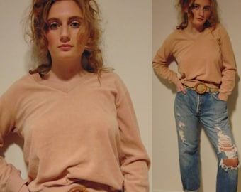 Vintage 70s hipster boho mod hippie v-neck soft velour crop shirt sweater.