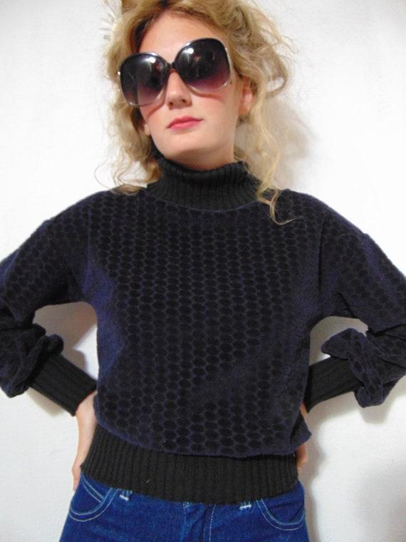 vintage 1970s 80s blue black sweater turtleneck p… - image 5