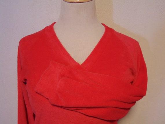 vintage 1970s pink velour sweater top shirt v-neck