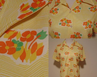 Vintage 70s 60s mod hipster blouse top shirt button up yellow orange polyester collared short-sleeved