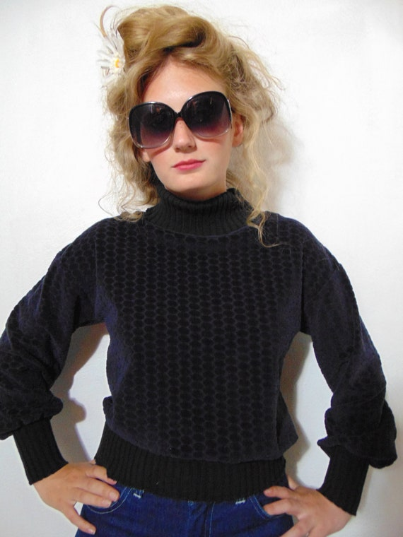 vintage 1970s 80s blue black sweater turtleneck p… - image 3