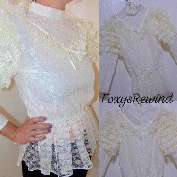 Vintage Victorian blouse mock neck ruffle puffy sl