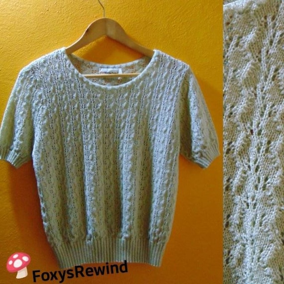 Vintage 1970s green sweater mint knit tops see thr