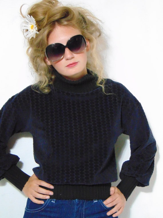 vintage 1970s 80s blue black sweater turtleneck p… - image 8