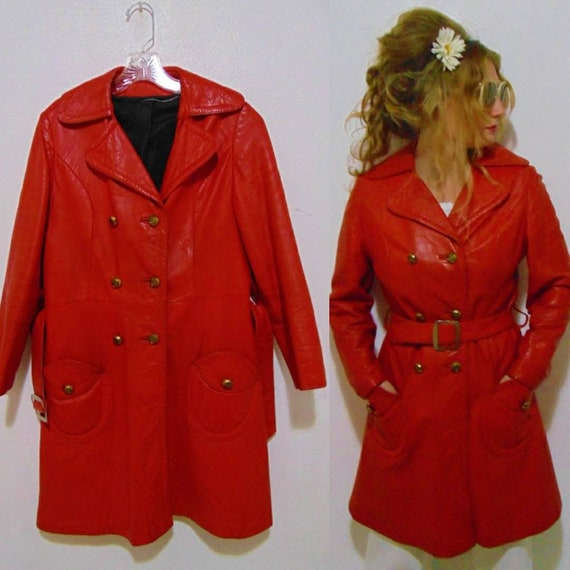 VINTAGE 1960s 70s red leather jacket double-breast