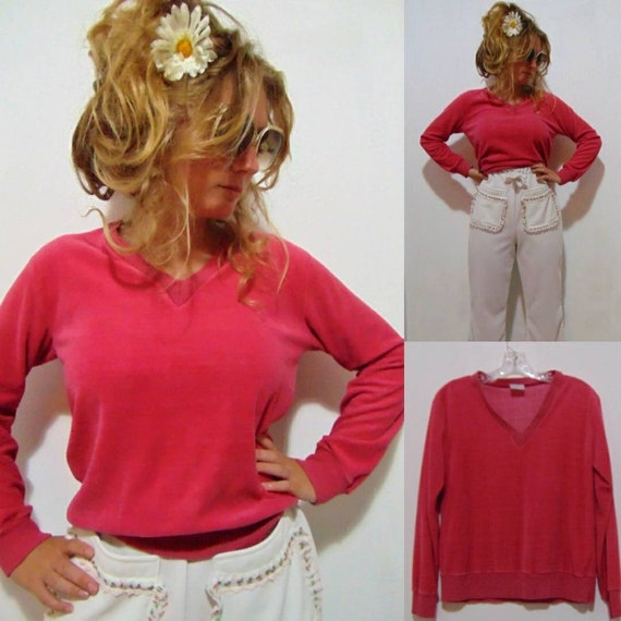 vintage 1970s pink top velour pullover shirt hot p