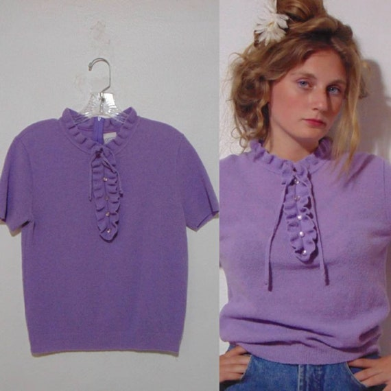 a070ae48e9 Vintage 1960 70s lavender sweater purple mod sweater crop