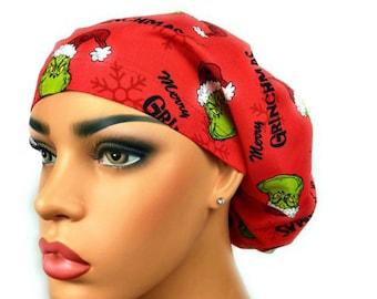 c163a0d9229 Grinch Surgical Scrub Hat, Scrub Cap, Scrub Hats, Red Merry Grinchmas Scrub  Cap, Chemo Hat, Nurse Cap, DK Scrub Hats