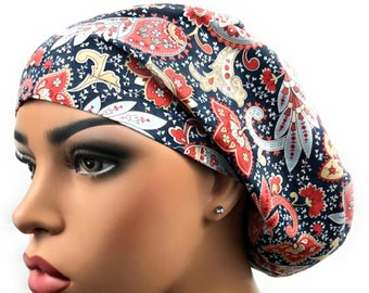 b875ae6a887 Womens Scrub Cap, Surgical Scrub Hat, Blue Paisley, Chemo Hat, Nurses Hat,  OR Hat, DK Scrub Hats