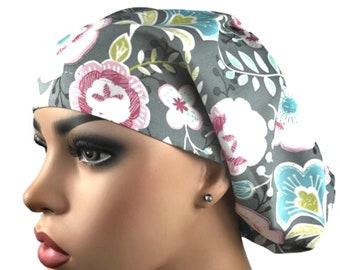 d29c39b8887d38 Scrub Hats: Grey Floral Print Scrub Hat for Women, Surgical Scrub cap, Euro Bouffant  Scrub Cap, DK Scrub Hats