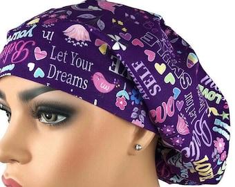 Purple heart scrub hat woman/'s