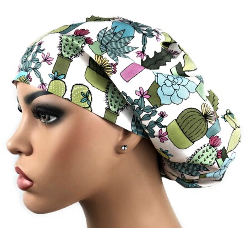 bouffant scrub hat Scrub Caps Scrub Hats: Cactus Scrub Hat for Women veterinarian scrub hat DK Scrub Hats