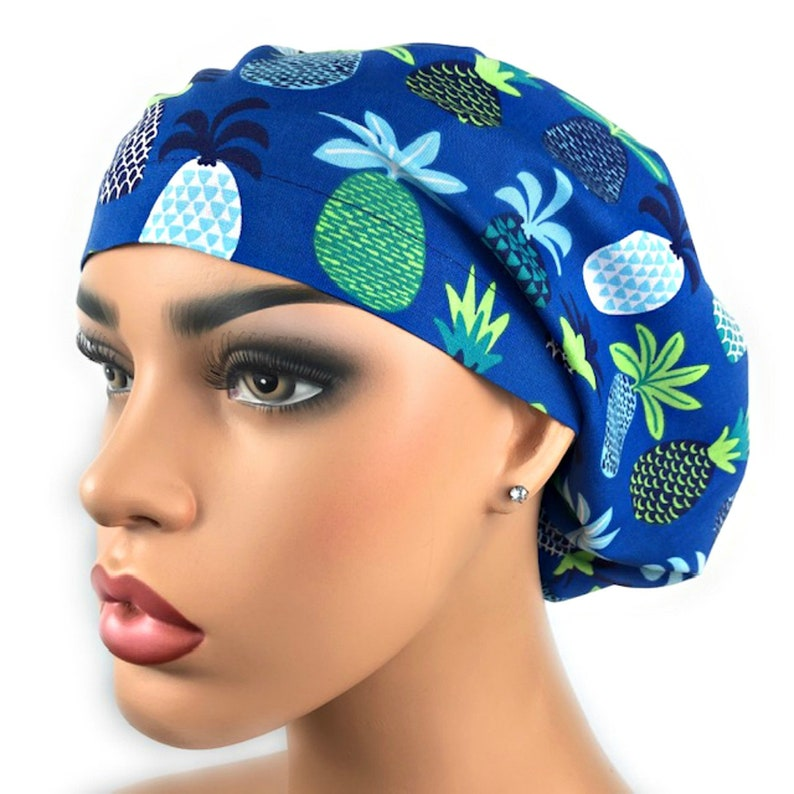 a9f8232925df71 Bouffant Scrub Hat: Pineapple Scrub Hat for Women Surgical | Etsy