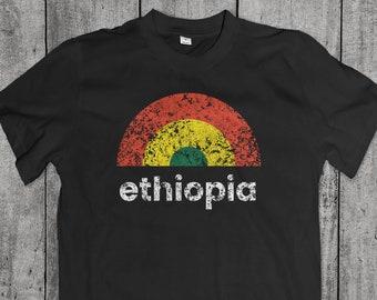 0685c9ce50f7 Ethiopia Shirt Vintage Rainbow Graphic - Ethiopian Retro Sunrise Clothing