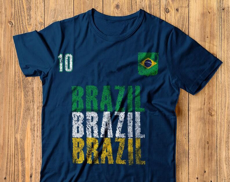 9d518ead4 Brazil Soccer T Shirt Vintage Brazilian Flag Tee World Cup