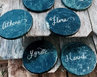 Custom Calligraphy Coaster Name Cards   Coaster Wedding Favors   Party Favors   Modern Calligraphy Place Settings, Hand-Lettered Coasters