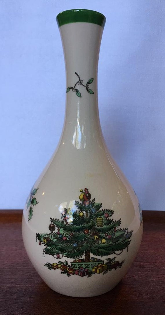 Vintage Spode Christmas Tree Bud Vase 7 1 2 Inches S3324 Made In England 1980